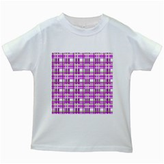 Purple plaid pattern Kids White T-Shirts