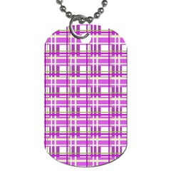 Purple plaid pattern Dog Tag (One Side)