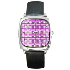 Purple plaid pattern Square Metal Watch