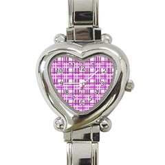 Purple plaid pattern Heart Italian Charm Watch
