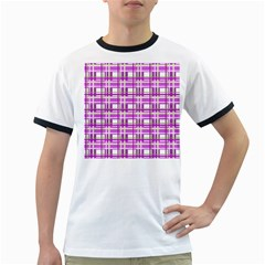 Purple plaid pattern Ringer T-Shirts