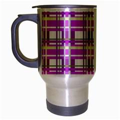Purple plaid pattern Travel Mug (Silver Gray)