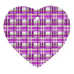 Purple plaid pattern Heart Ornament (2 Sides)