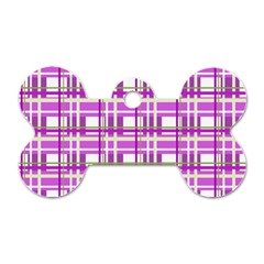 Purple plaid pattern Dog Tag Bone (One Side)