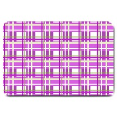 Purple plaid pattern Large Doormat