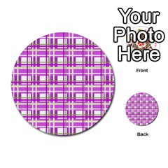 Purple plaid pattern Multi-purpose Cards (Round)