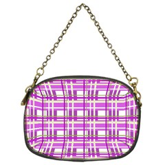 Purple plaid pattern Chain Purses (One Side)