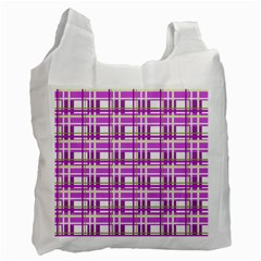 Purple plaid pattern Recycle Bag (One Side)