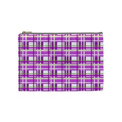 Purple plaid pattern Cosmetic Bag (Medium)