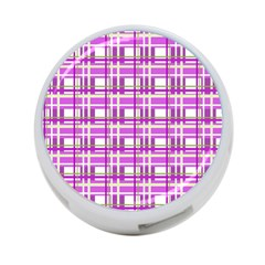 Purple plaid pattern 4-Port USB Hub (One Side)