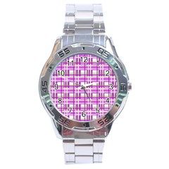 Purple plaid pattern Stainless Steel Analogue Watch
