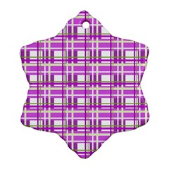 Purple plaid pattern Snowflake Ornament (2-Side)