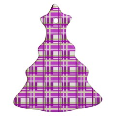 Purple plaid pattern Christmas Tree Ornament (2 Sides)