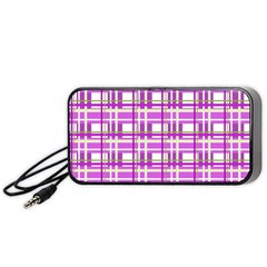 Purple plaid pattern Portable Speaker (Black)