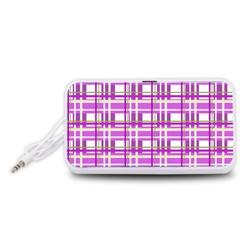 Purple plaid pattern Portable Speaker (White)
