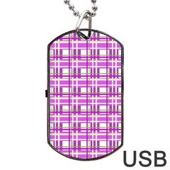 Purple plaid pattern Dog Tag USB Flash (One Side)