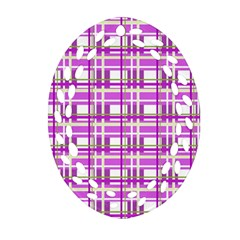 Purple plaid pattern Oval Filigree Ornament (2-Side)
