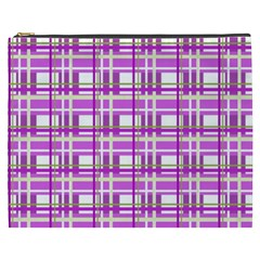 Purple plaid pattern Cosmetic Bag (XXXL)