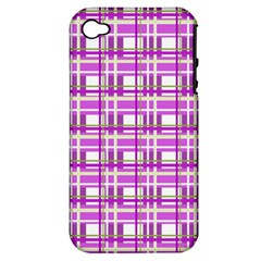 Purple plaid pattern Apple iPhone 4/4S Hardshell Case (PC+Silicone)