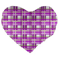 Purple plaid pattern Large 19  Premium Heart Shape Cushions