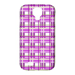 Purple plaid pattern Samsung Galaxy S4 Classic Hardshell Case (PC+Silicone)