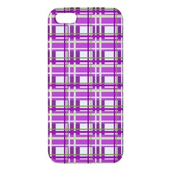Purple plaid pattern iPhone 5S/ SE Premium Hardshell Case