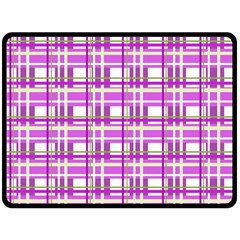 Purple plaid pattern Double Sided Fleece Blanket (Large)