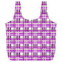 Purple plaid pattern Full Print Recycle Bags (L)