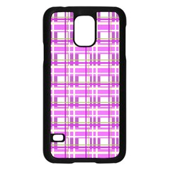 Purple plaid pattern Samsung Galaxy S5 Case (Black)