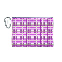 Purple plaid pattern Canvas Cosmetic Bag (M)