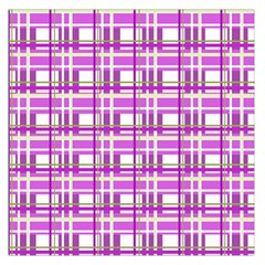 Purple plaid pattern Large Satin Scarf (Square)
