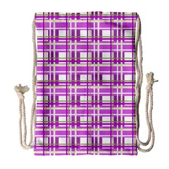 Purple plaid pattern Drawstring Bag (Large)