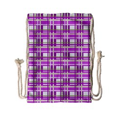 Purple plaid pattern Drawstring Bag (Small)