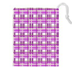 Purple plaid pattern Drawstring Pouches (XXL)