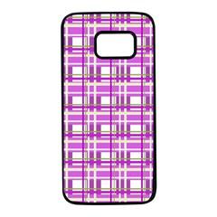 Purple plaid pattern Samsung Galaxy S7 Black Seamless Case