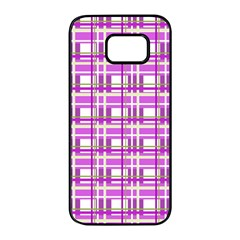 Purple plaid pattern Samsung Galaxy S7 edge Black Seamless Case