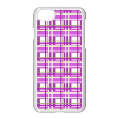 Purple plaid pattern Apple iPhone 7 Seamless Case (White)