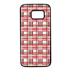Red plaid pattern Samsung Galaxy S7 Black Seamless Case