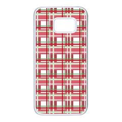 Red Plaid Pattern Samsung Galaxy S7 White Seamless Case