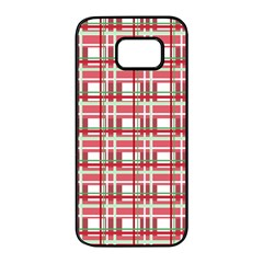 Red plaid pattern Samsung Galaxy S7 edge Black Seamless Case