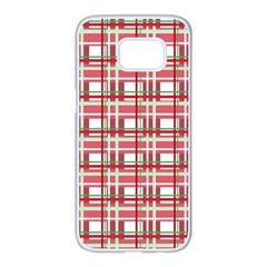 Red plaid pattern Samsung Galaxy S7 edge White Seamless Case