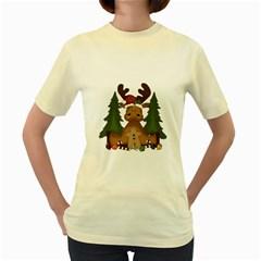 Christmas Moose Women s Yellow T Shirt