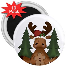 Christmas Moose 3  Magnets (10 Pack)