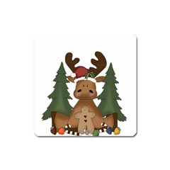 Christmas Moose Square Magnet