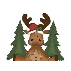 Christmas Moose Birthday Cake 3d Greeting Card (7x5)