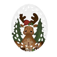Christmas Moose Ornament (oval Filigree)