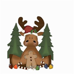 Christmas Moose Small Garden Flag (two Sides)