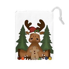 Christmas Moose Drawstring Pouches (large)