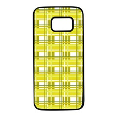 Yellow plaid pattern Samsung Galaxy S7 Black Seamless Case