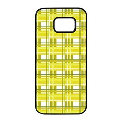 Yellow plaid pattern Samsung Galaxy S7 edge Black Seamless Case